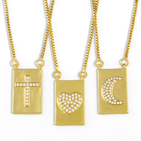 creative micro-inlaid zircon love  necklace  NHAS290568's discount tags
