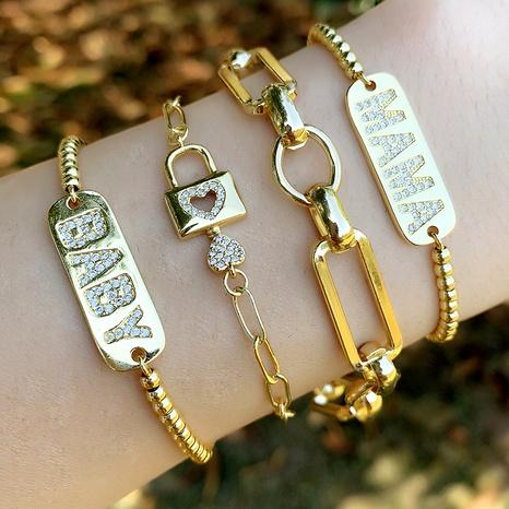 simple letter  diamond love lock adjustable bracelet  NHAS290564's discount tags
