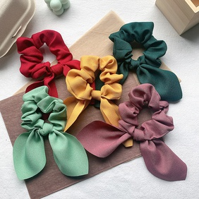 retro satin bow hair scrunchies NHOF290580