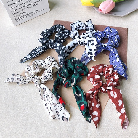 leopard print knotted hair scrunchies NHOF290600's discount tags