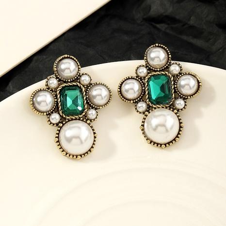 boucles d'oreilles rétro en cristal vert NHNZ290623's discount tags