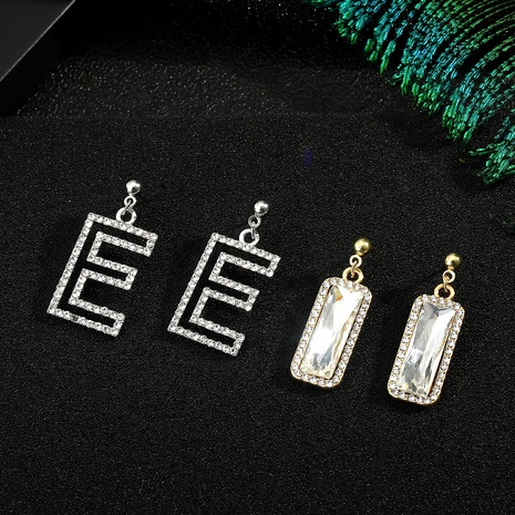 925 silver needle diamond letter earrings NHGO290650's discount tags