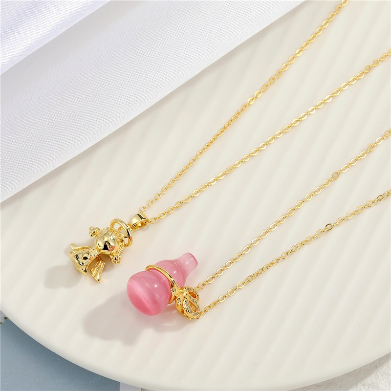 hiphop retro wild crystal brass plated necklace NHGO290655