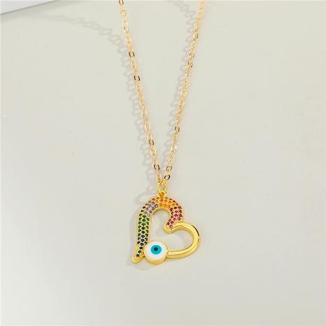 diamond-studded blue eye heart-shaped pendant necklace NHGO290660's discount tags