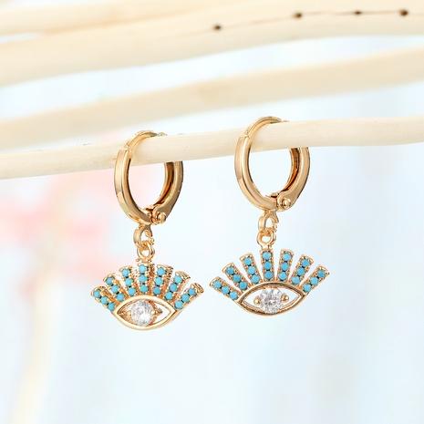 mikro-eingelegte Ohrringe mit grünen Augen aus Zirkon NHGO290673's discount tags
