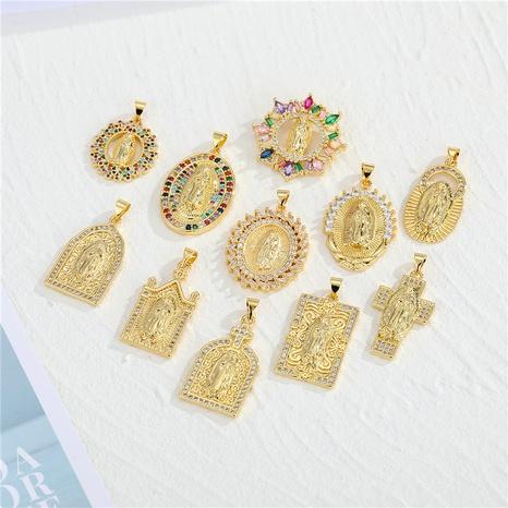 vintage Virgin Mary pendant rhinestone zircon necklace NHGO290688's discount tags