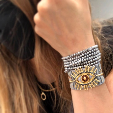 multi-layer crystal stacking Turkey evil eye Miyuki rice bead bracelet  NHGW290720's discount tags