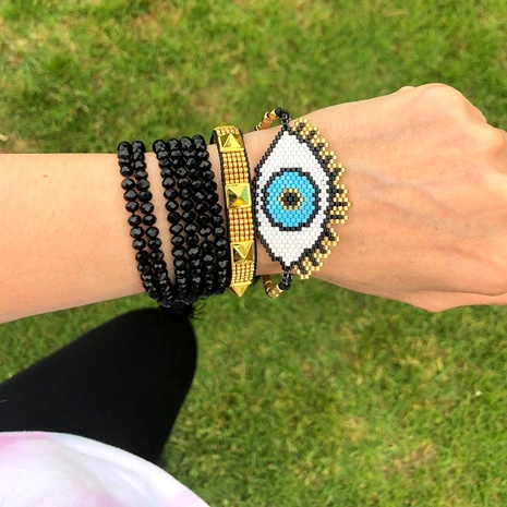 Multilayer Crystal Stacked Turkish Evil Eye Miyuki Rice Bead bracelet NHGW290721's discount tags