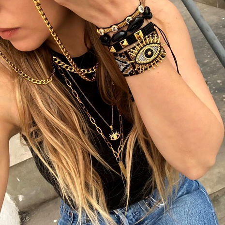 Retro ethnic Turkish evil eye beaded woven Miyuki rice bead bracelet  NHGW290723's discount tags