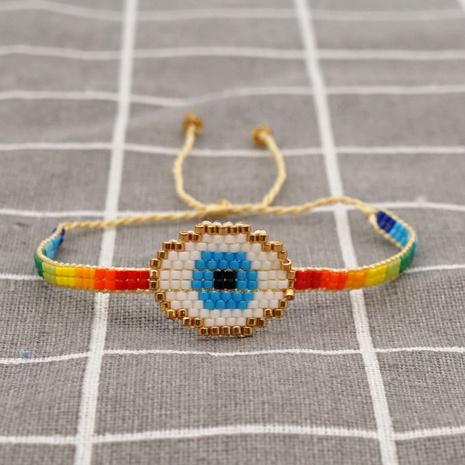 bohemian hand-woven Turkish blue eyes rainbow ethnic bracelet NHGW290731's discount tags