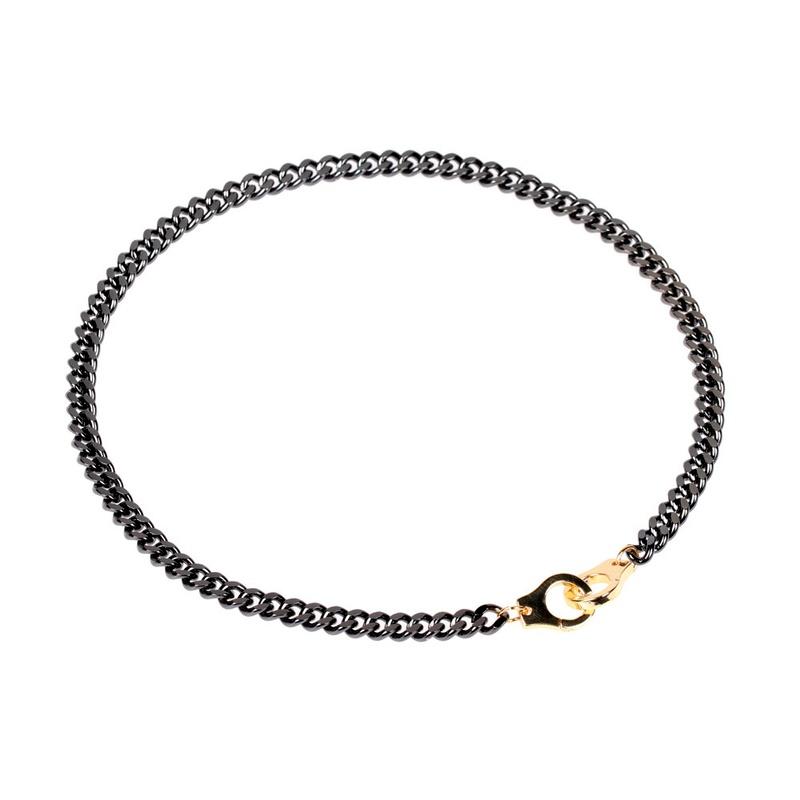 hip hop  gun black Cuban chain bracelet set NHPY290747