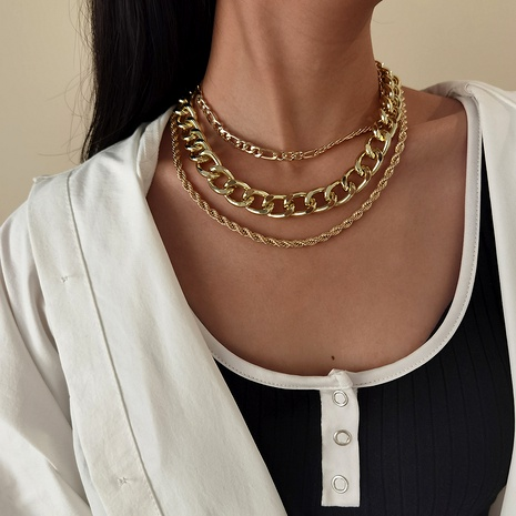 punk multi-layer hip-hop style thick chain necklace NHXR290769's discount tags