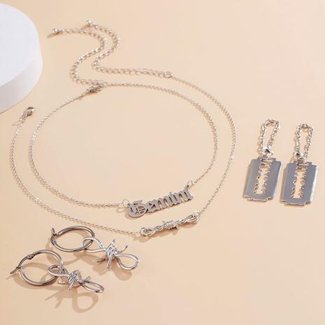 aretes de hebilla de cadena irregular conjunto de collar de letras simples NHXR290770's discount tags