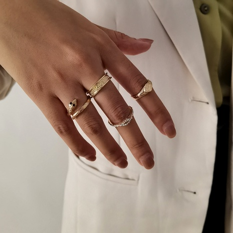 simple fashion irregular snake-shaped retro ring set NHXR290775's discount tags