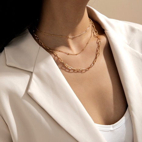 multi-layer tassel  fashion simple square silk cross chain necklace NHXR290780's discount tags