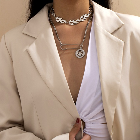 hip-hop style flame chain necklace  NHXR290790's discount tags