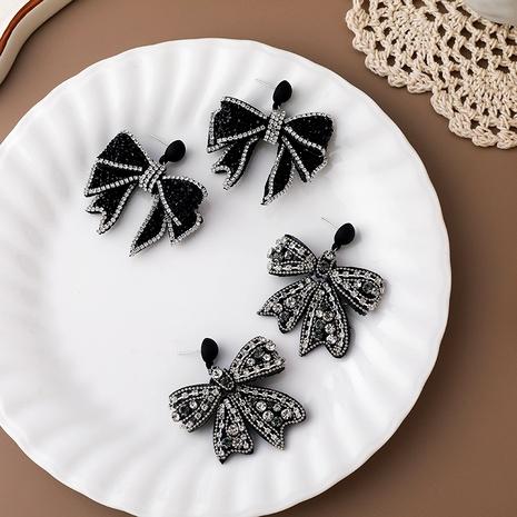 fashion tassel black diamond bow earrings NHMS290812's discount tags