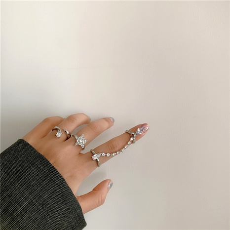 diamond five-pointed star opening fashion ring NHYQ290875's discount tags