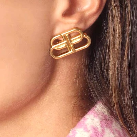 letter B metal brass earrings NHYQ290876's discount tags