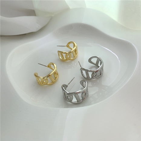 metal C-shaped earrings  NHYQ290878's discount tags
