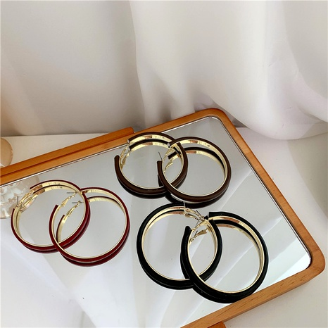 leather circle metal earrings NHYQ290879's discount tags