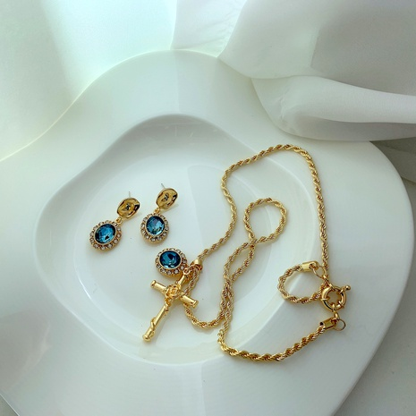 retro blue opal cross pendant necklace earrings NHYQ290881's discount tags