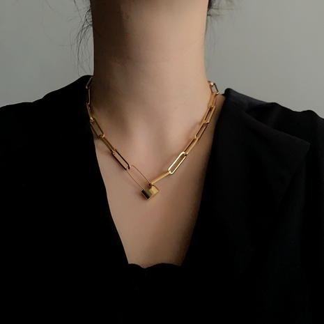 retro  golden lock pin chain necklace  NHYQ290894's discount tags