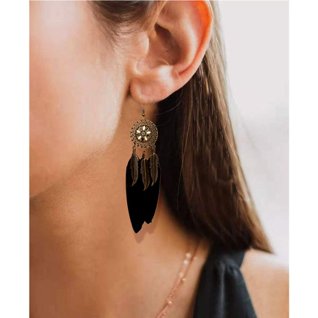 alloy flower feather earrings  NHCT290926's discount tags
