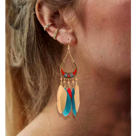 retro feather tassel long earrings  NHCT290929's discount tags