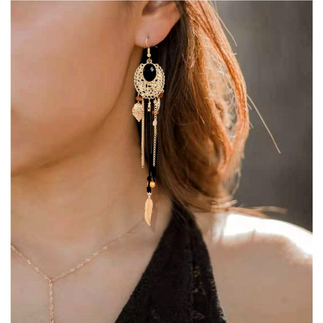 Bohemian alloy feather tassel long earrings  NHCT290931's discount tags