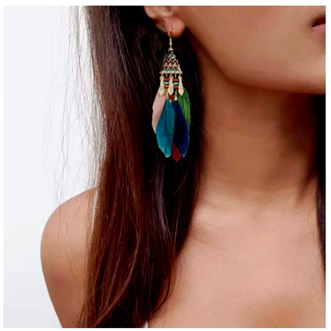 feather long tassel earrings  NHCT290936's discount tags