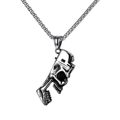 skull lighter bottle opener pendant titanium steel necklace  NHOP290939's discount tags
