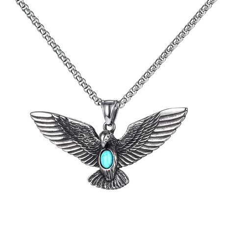 eagle wings pendant blue turquoise titanium steel necklace NHOP290949's discount tags