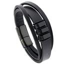 retro black PU stainless steel mens leather bracelet NHPK290979
