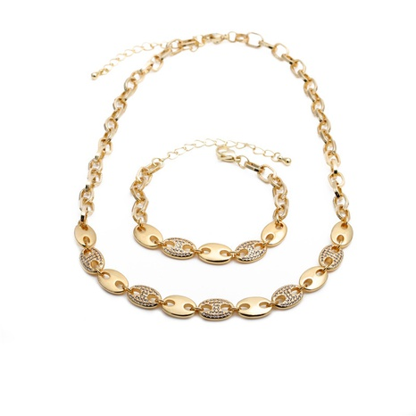 new  micro-inlaid zircon hip hop necklace set NHYL290990's discount tags