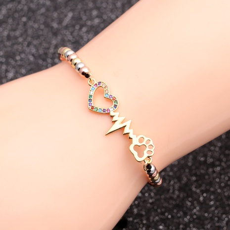 creative new copper micro-inlaid zircon love bracelet  NHYL291000's discount tags
