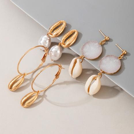 ensemble de boucles d'oreilles de coquille de perles de mode en gros NHGY291355's discount tags
