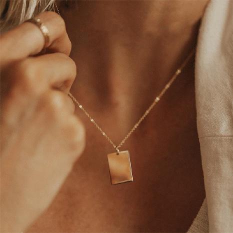 neue quadratische einfache vergoldete Halskette aus Edelstahl NHTF301833's discount tags