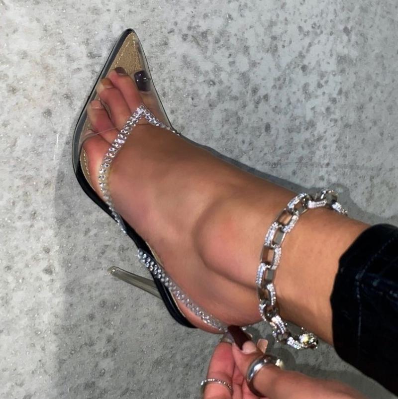 new fashion transparent pointed toe rhinestone high heel sandals NHSO301961