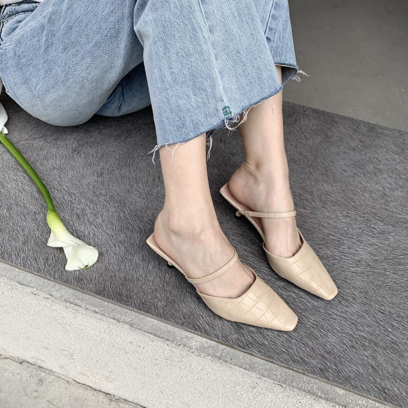 new fashion allmatch pointed toe stiletto half slippers  NHHU301972