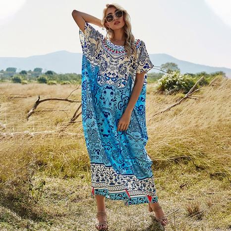 robe ample imprimée décontractée NHDF302099's discount tags