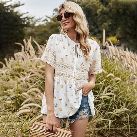 nouvelle chemise à manches courtes col rond imprimé NHDF302105's discount tags