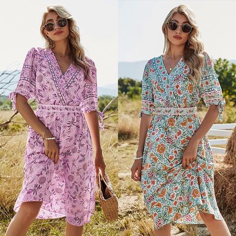 robe longue fleurie NHDF302108's discount tags