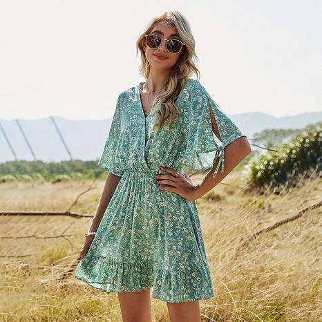 robe fleurie plissée taille élastique à manches courtes NHDF302109's discount tags