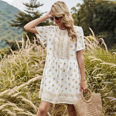 robe imprimée taille haute à manches courtes NHDF302110's discount tags