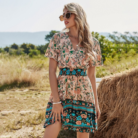 robe imprimée bohème taille haute col V manches courtes NHDF302111's discount tags