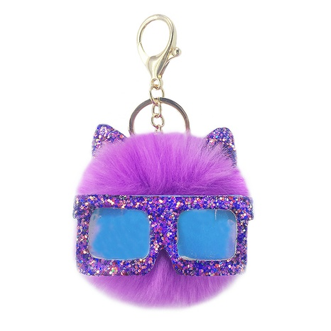 sequined sunglasses hairy ball pendant keychain  NHAP302198's discount tags