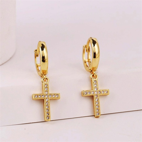 copper inlaid zirconium cross earrings  NHLA302205's discount tags