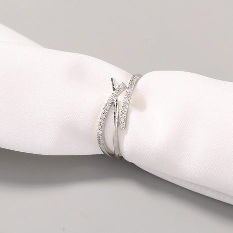 fashion imitation platinum zircon adjustable opening cross ring NHAN302223's discount tags