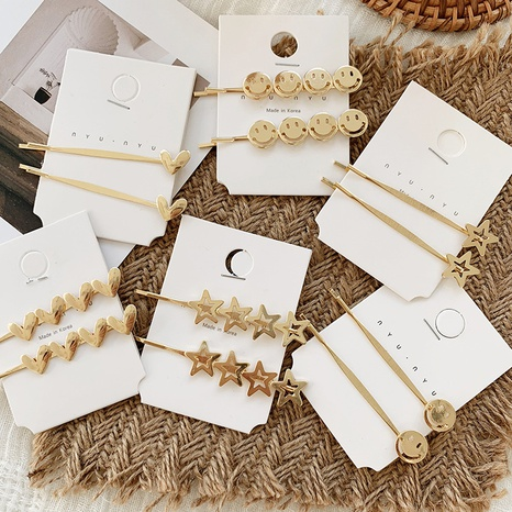 La Corée aime l'épingle à cheveux visage souriant étoile à cinq branches NHGE302237's discount tags